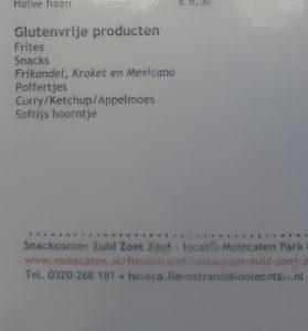 In de snackcorner van de camping/jachthaven zijn ook veel glutenvrije dingen verkrijgbaar.