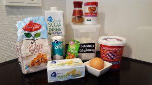 Ingredienten om glutenvrije en melkvrije stroopwafels te bakken