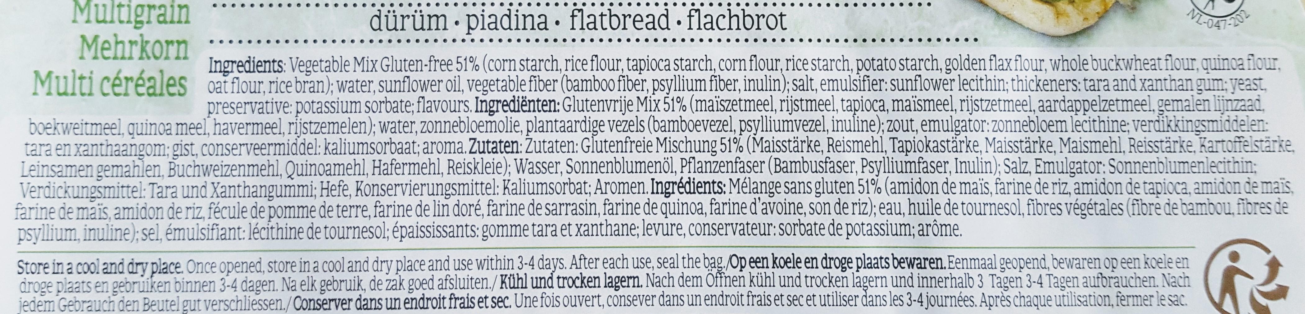 glutenvrije wrap consenza ingredienten